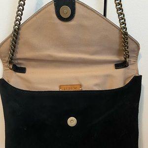 Jcrew black velvet envelope clutch